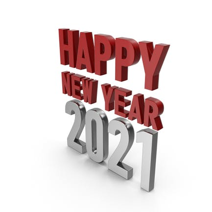 Happy New Year 2021 Symbol Red and Silver