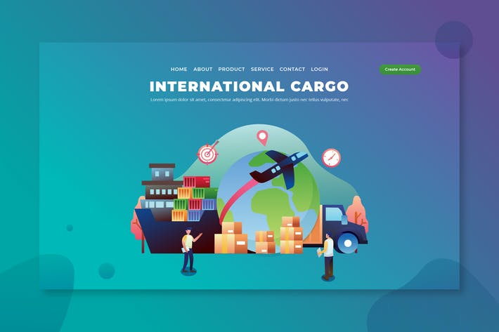 Thumbnail for International Cargo - PSD & AI Vector Landing Page