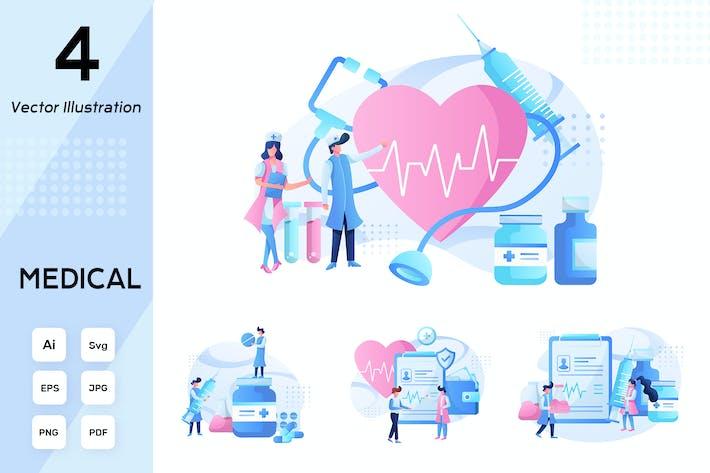4 Medizinische flache Illustration