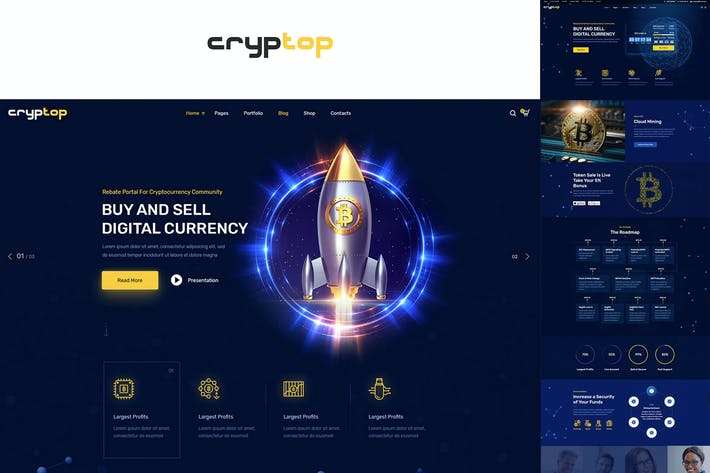 Thumbnail for CrypTop - ICO Landing and CryptoCurrency WordPress