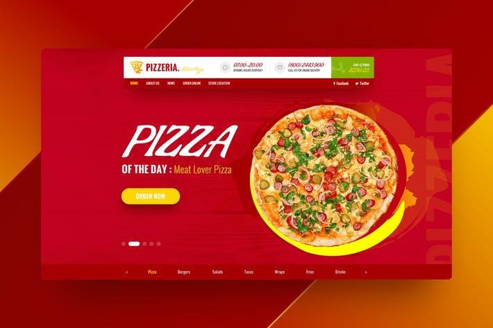 Thumbnail for Pizzeria - Food Hero Header Template
