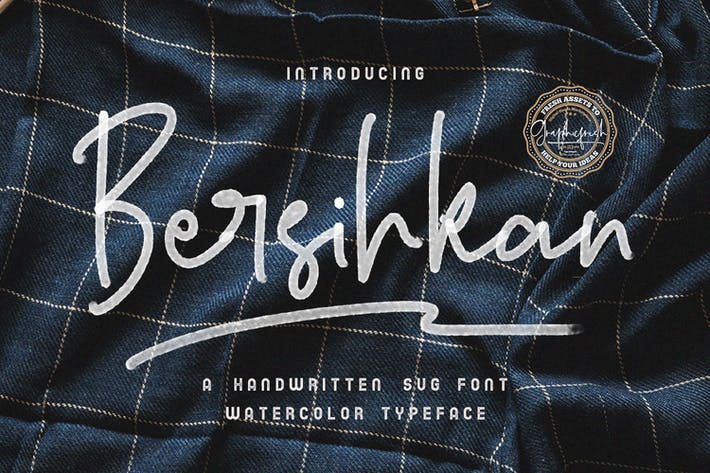 Thumbnail for Bersihkan - Watercolor Signature SVG