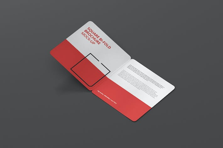 Cover Image For Square Bi-Fold Brochure Mock-Up - Round Corner