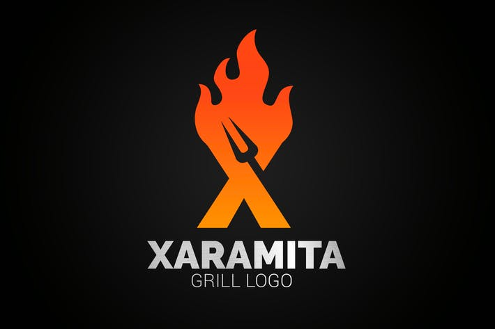 Thumbnail for Letter X Fire Grill Logo