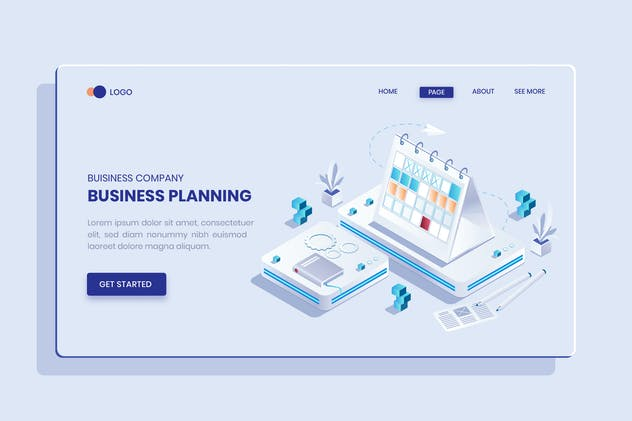 Planning Business Isometric Concept Vector