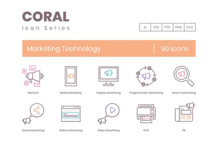 90 Icons für Marketing-Technologie-Linien