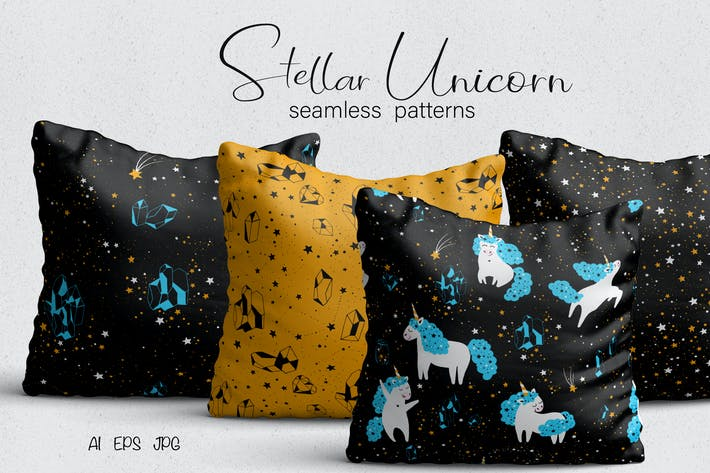 Cover Image For Unicorn Seamless Patterns