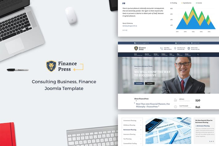 Cover Image For Финансы Пресс - Консалтинг Бизнес Joomla тема