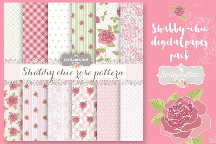 Thumbnail for Shabby chic green digital paper pack