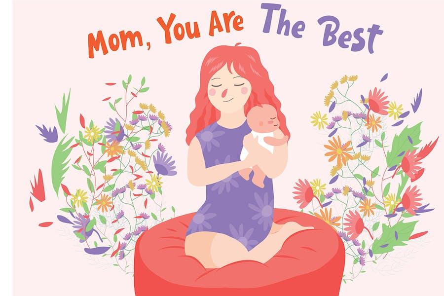Mom The Best - Vector Illustration