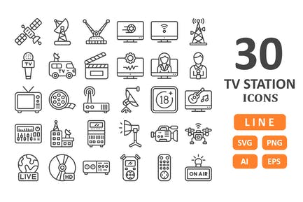 30 TV Station Icons - Line