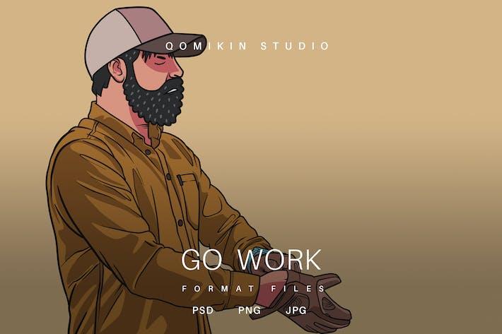 Gehe Arbeit Illustration