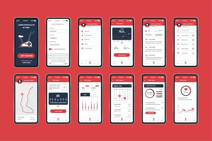 Thumbnail for GUI Layout Fitness Unique Mobile App UI Kit