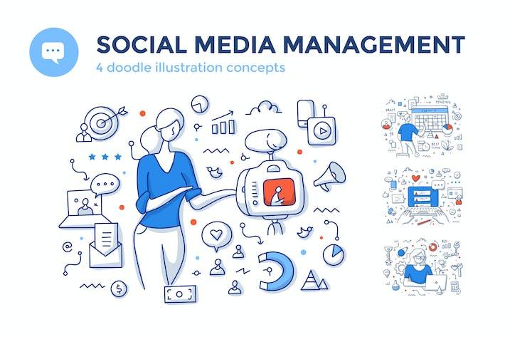 Thumbnail for 4 Social Media Management Color Line Concepts
