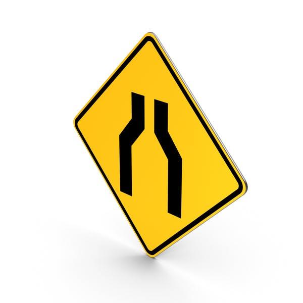 Road Sign Road Narrows