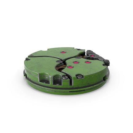 Mecanismo de reloj verde metal sucio
