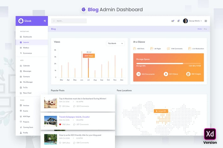 Thumbnail for Blog Admin Dashboard UI Kit (XD)