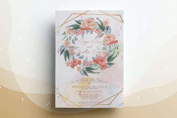 Thumbnail for Floral Wreath Wedding Invitation Card