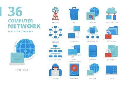 Compute Network Flat Style Icon Set