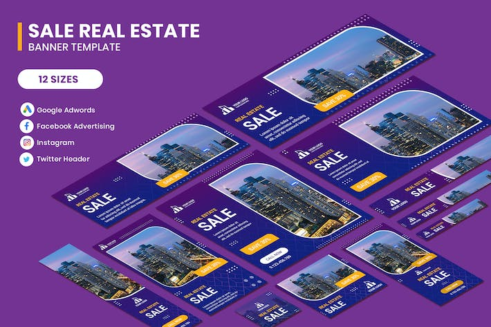 Cover Image For Real Estate Sale Google Adwords Banner Template