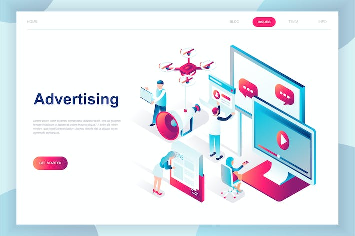 Thumbnail for Advertising Isometric Landing Page
