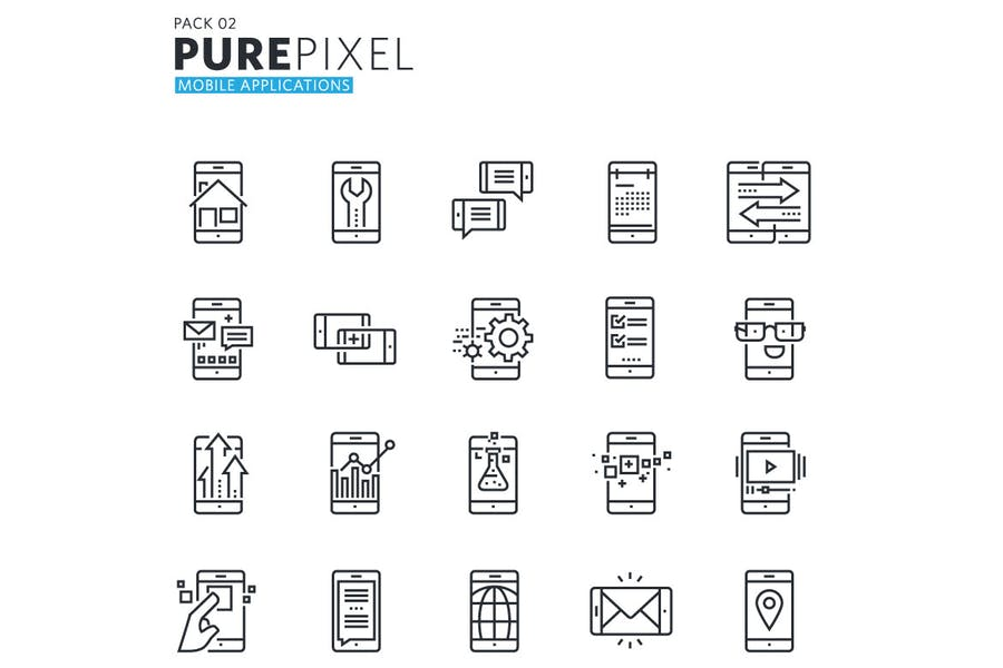 Mobile Apps and Services Pixel Perfect Icons