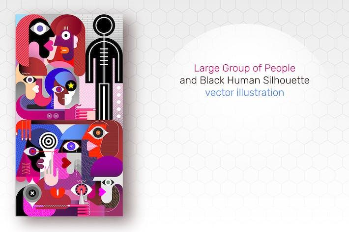 Группа людей и Черная человеческая пиктограмма вектор