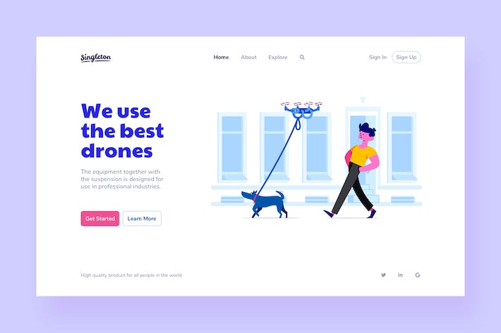 Thumbnail for Drones Landing Page Illustrations