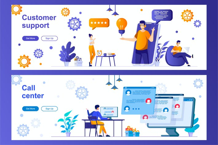 Thumbnail for Customer Support and Call Center Web Banners