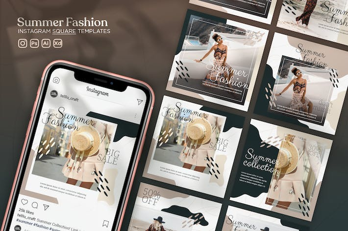 Thumbnail for Instagram Square Templates Vol.14 Summer Fashion