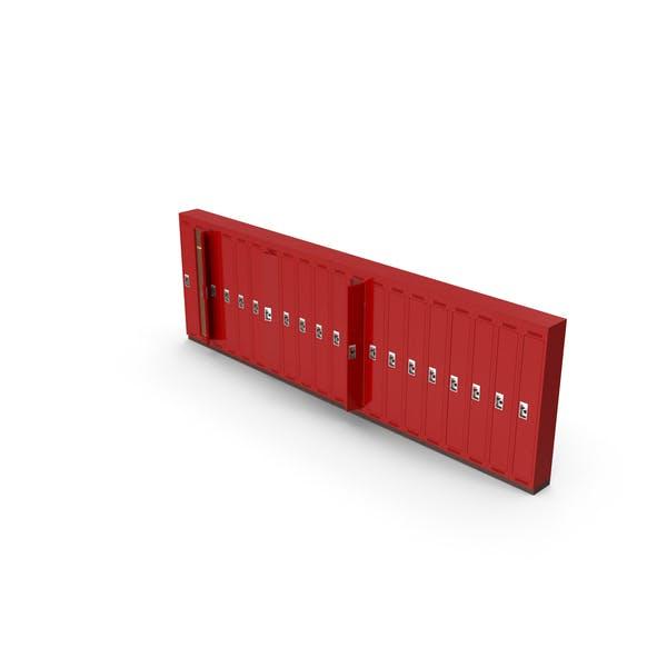 Row of open lockers