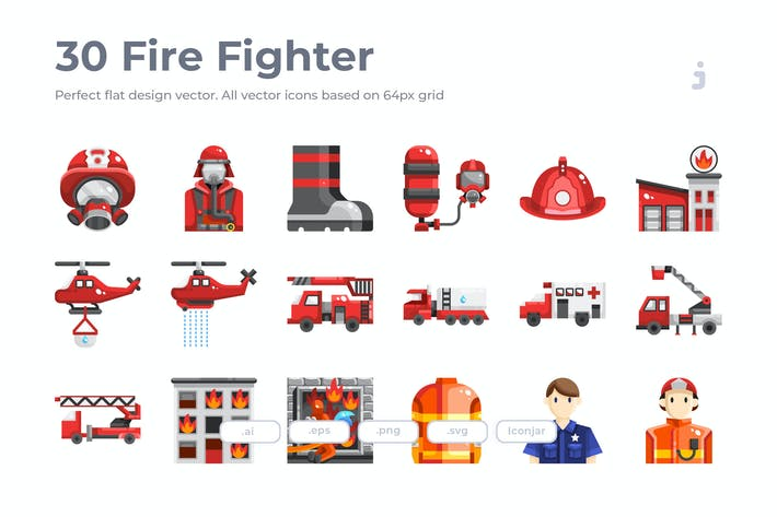 Thumbnail for 30 Fire Fighter Icons - Flat