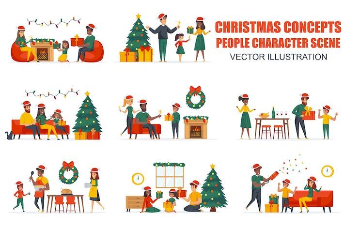 Thumbnail for Рождественские семейные люди персонажи сцены