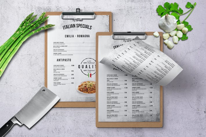 Thumbnail for Italian A4 & US Letter Single Page Food Menu V2