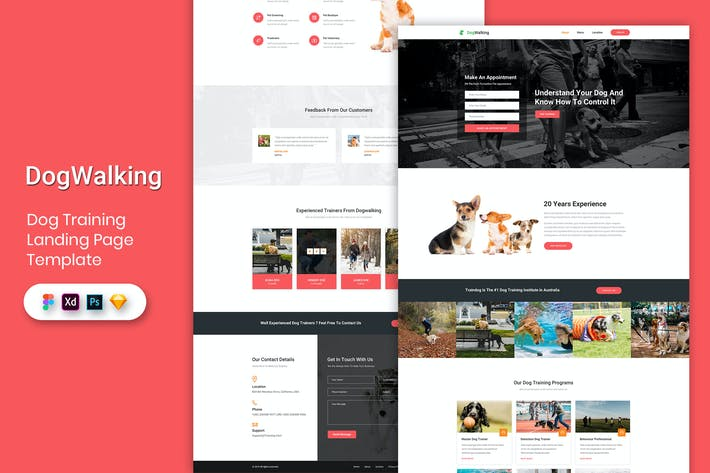 Thumbnail for Dog Training - Landing Page Template
