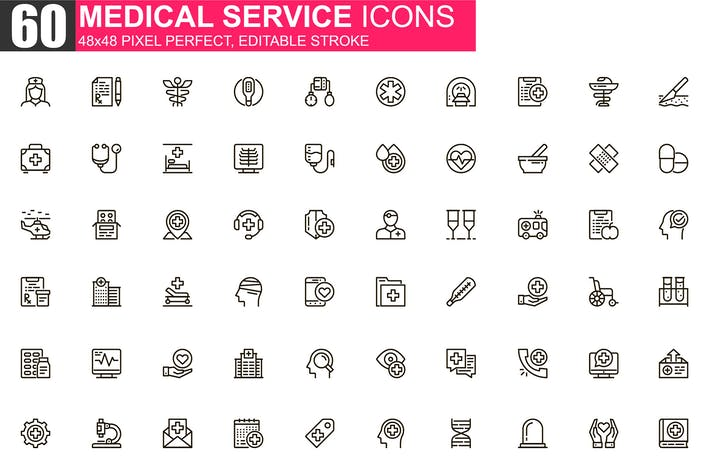 Thumbnail for Medical Service Thin Line Icons Pack
