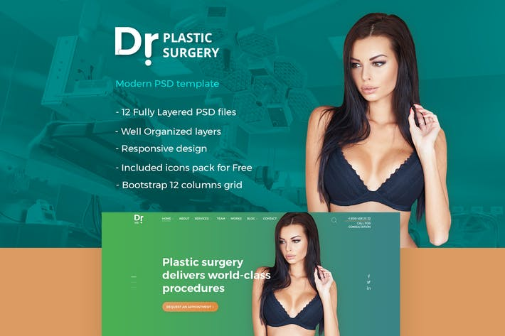 Thumbnail for Dr. Plastic Surgery - PSD Template