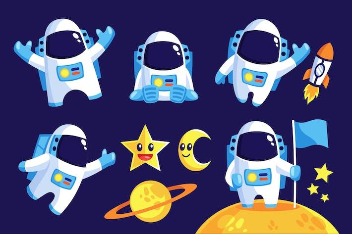 Sammlung von Astronauten-Maskottchen-Vektor