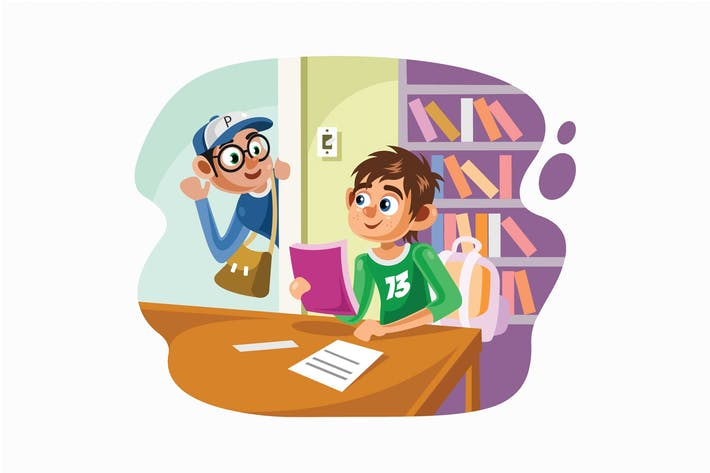 Thumbnail for Students In the Library Vector Illustration
