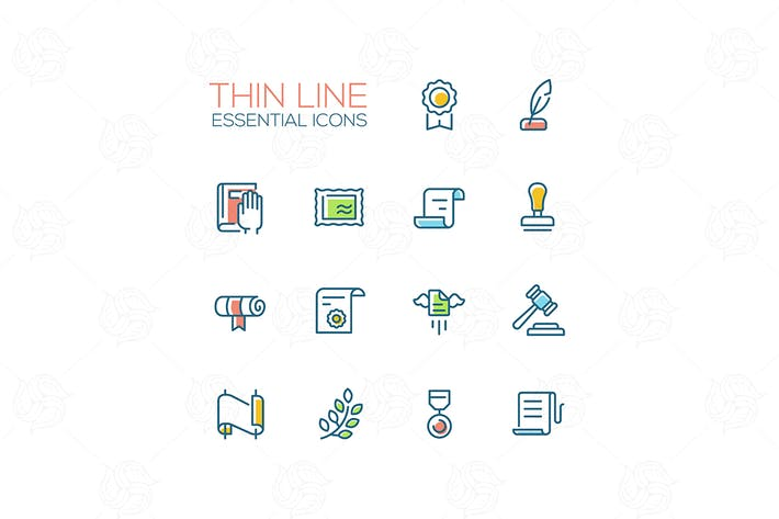 Thumbnail for Law and Justice - Thin Line Icons Set