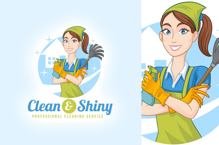 Thumbnail for Clean & Shiny - House Cleaning Service Maid Logo