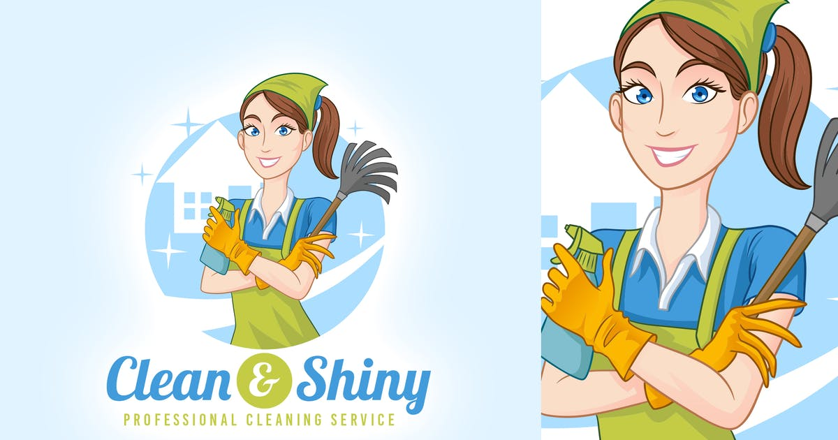 Clean & Shiny - House Cleaning Service Maid Logo by Suhandi