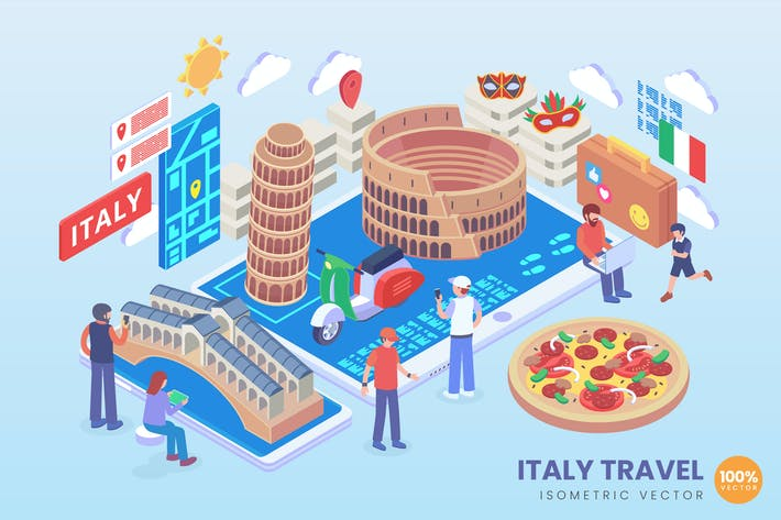 Thumbnail for Isometric Italy Travel Holiday Vector Concept