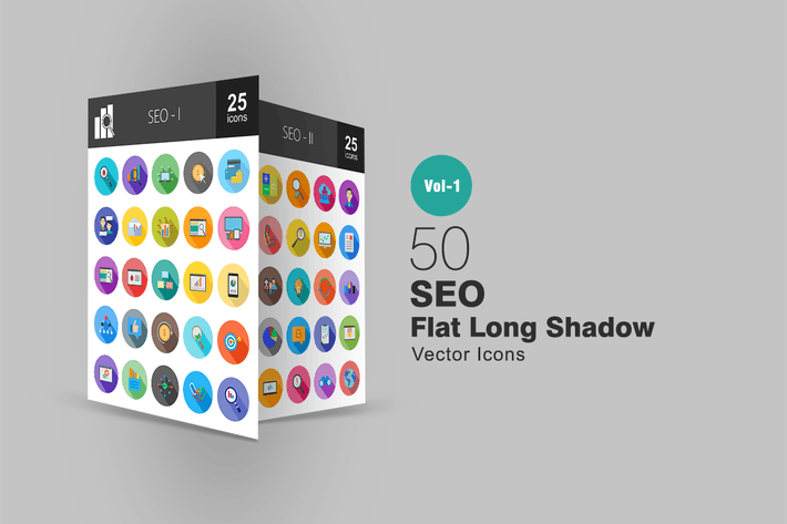 Thumbnail for 50 SEO Flat Long Shadow Icons