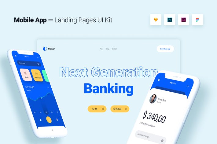 Thumbnail for Mobile App Banking Landing Page Template UI Kit