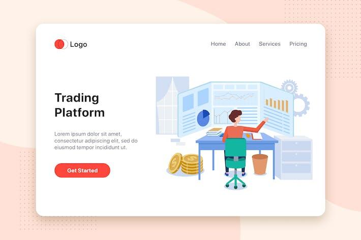Thumbnail for Trading platform flat illustration concept
