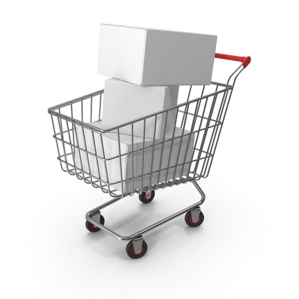 Shopping Cart with White Boxes