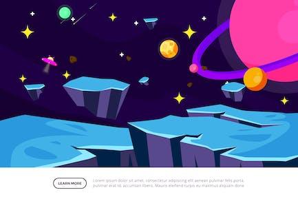 Space Rocks - Space Illustration Scene