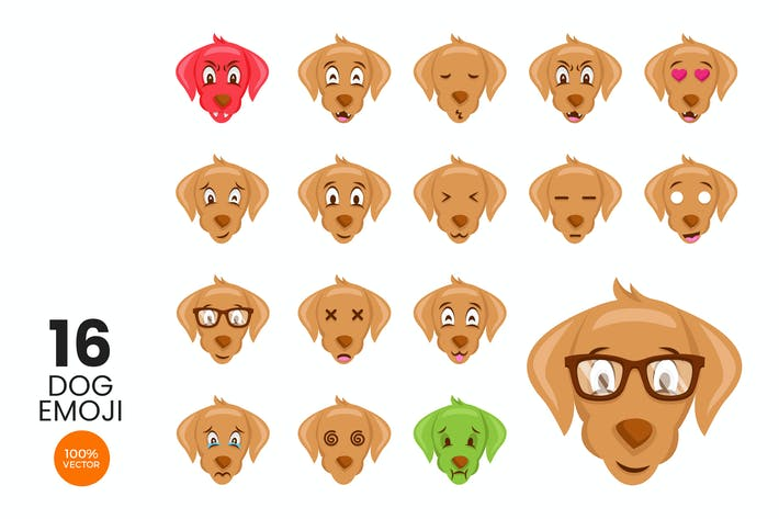 Thumbnail for 16 Cute Dog Avatar Emoji Vector Character Set