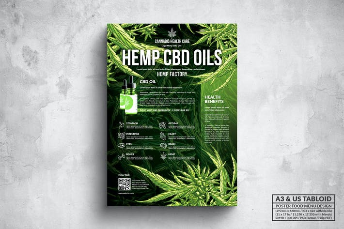 Thumbnail for CBD Hemp Oils Poster - A3 & US Tabloid